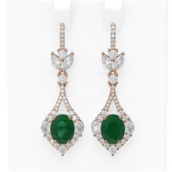 10.52 ctw Emerald & Diamond Earrings 18K Rose Gold