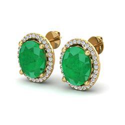 6 ctw Emerald & Micro Pave VS/SI Diamond Earrings 18k Yellow Gold
