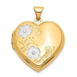14k Yellow Gold & Rhodium Floral Heart Locket - 26 mm