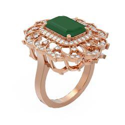 6.75 ctw Emerald & Diamond Ring 18K Rose Gold