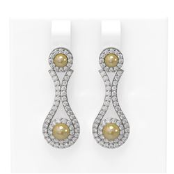 2.03 ctw Diamond & Pearl Earrings 18K White Gold