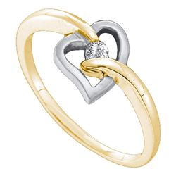 10kt Yellow Gold Round Diamond Solitaire Two-tone Heart Ring 1/20 Cttw