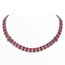 59.69 ctw Tourmaline & Diamond Necklace 14K White Gold
