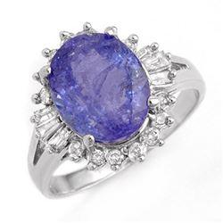 4.06 ctw Tanzanite & Diamond Ring 14k White Gold
