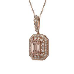 6.05 ctw Morganite & Diamond Victorian Necklace 14K Rose Gold