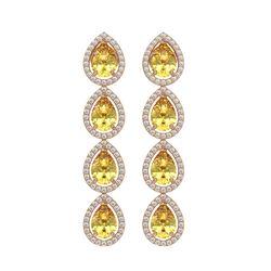 7.48 ctw Fancy Citrine & Diamond Micro Pave Halo Earrings 10k Rose Gold