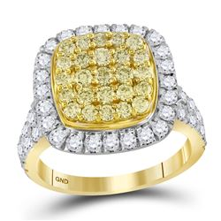14kt Yellow Gold Round Natural Yellow Diamond Cluster Ring 1-3/4 Cttw