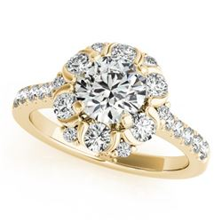 1.8 ctw Certified VS/SI Diamond Halo Ring 14k Yellow Gold