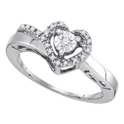 Sterling Silver Round Diamond Heart Promise Ring 1/12 Cttw