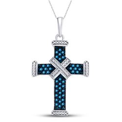 Sterling Silver Round Blue Color Enhanced Diamond Bound Roman Cross Pendant 1/4 Cttw