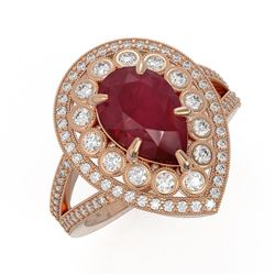 5.12 ctw Certified Ruby & Diamond Victorian Ring 14K Rose Gold