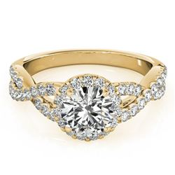 1.54 ctw Certified VS/SI Diamond Solitaire Halo Ring 14k Yellow Gold