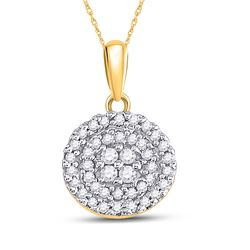 10kt Yellow Gold Round Diamond Circle Cluster Pendant 1/4 Cttw