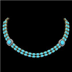 29.85 ctw Turquoise & Diamond Necklace 14K Yellow Gold