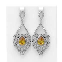 9.66 ctw Canary Citrine & Diamond Earrings 18K White Gold