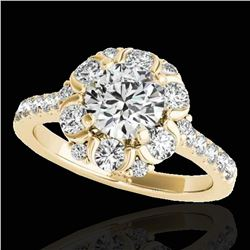 2.05 ctw Certified Diamond Solitaire Halo Ring 10k Yellow Gold