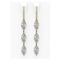 4.99 ctw Marquise Diamond Earrings 18K Yellow Gold