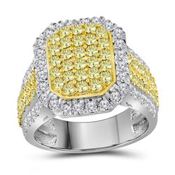 14kt White Gold Round Canary Yellow Diamond Rectangle Cluster Ring 2-1/3 Cttw