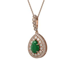 4.97 ctw Certified Emerald & Diamond Victorian Necklace 14K Rose Gold
