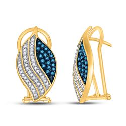 10kt Yellow Gold Round Blue Color Enhanced Diamond Stripe Oval Cluster Earrings 1/2 Cttw