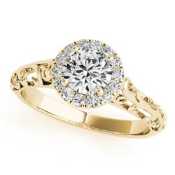 0.62 ctw Certified VS/SI Diamond Solitaire Antique Ring 14k Yellow Gold