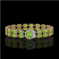 26.52 ctw Peridot & Diamond Bracelet 14K Rose Gold