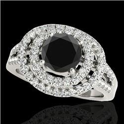 1.75 ctw Certified VS Black Diamond Solitaire Halo Ring 10k White Gold
