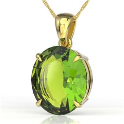 9 ctw Peridot Designer Solitaire Necklace 18k Yellow Gold