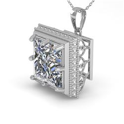 1 ctw VS/SI Princess Diamond Necklace Art Deco 14k White Gold
