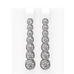 3.38 ctw Diamond Earrings 18K White Gold