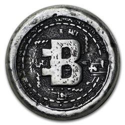 1 oz Hand Poured Silver Round - Bitcoin
