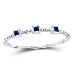 10kt White Gold Princess Blue Sapphire 3-Stone Beaded Stackable Band Ring 1/20 Cttw