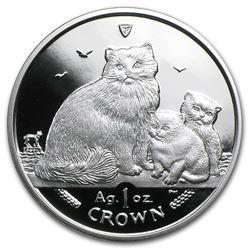 2007 Isle of Man 1 oz Silver Ragdoll Cats Proof