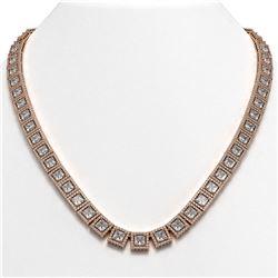 36.30 ctw Princess Cut Diamond Micro Pave Necklace 18K Rose Gold