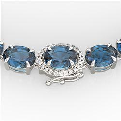 90 ctw London Blue Topaz & VS/SI Diamond Micro Necklace 14k White Gold