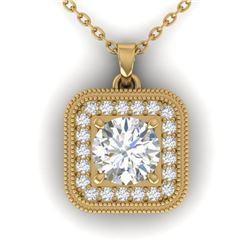 1.32 ctw VS/SI Diamond Art Deco Micro Necklace 14k Yellow Gold