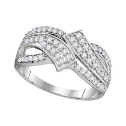 10kt White Gold Round Diamond Bypass Crossover Band Ring 1/2 Cttw
