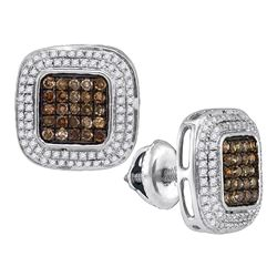 10kt White Gold Round Brown Diamond Square Cluster Earrings 1/2 Cttw