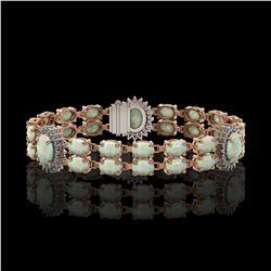 14.39 ctw Opal & Diamond Bracelet 14K Rose Gold