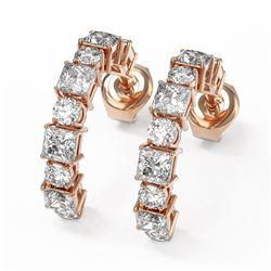 4 ctw Princess Cut Diamond Designer Earrings 18K Rose Gold