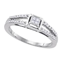 Sterling Silver Princess Diamond Cluster Split-shank Bridal Wedding Engagement Ring 1/5 Cttw