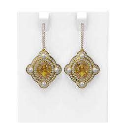 8.96 ctw Canary Citrine & Diamond Earrings 18K Yellow Gold