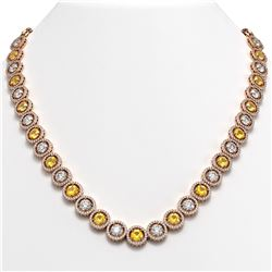 35.54 ctw Canary & Diamond Micro Pave Necklace 18K Rose Gold