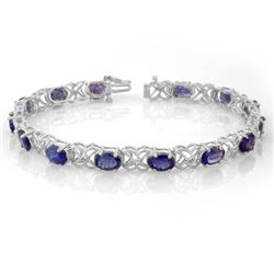 12.05 ctw Tanzanite & Diamond Bracelet 14k White Gold