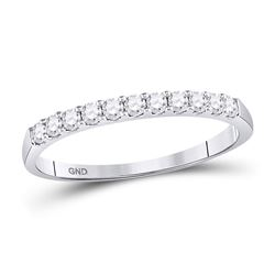 14kt White Gold Round Diamond Single Row Wedding Band 1/4 Cttw