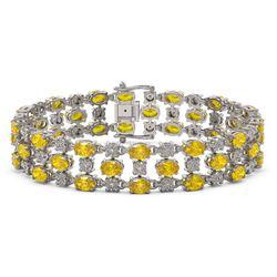 12.7 ctw Fancy Citrine & Diamond Row Bracelet 10K White Gold