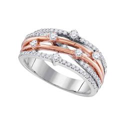 10kt Two-tone White Gold Round Diamond Crossover Strand Band Ring 1/2 Cttw