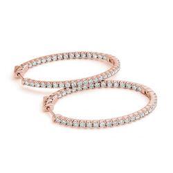 1.55 ctw Diamond VS/SI 30 MM Hoop Earrings 14k Rose Gold