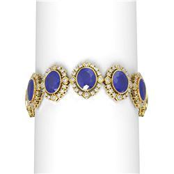 50.03 ctw Sapphire & Diamond Bracelet 18K Yellow Gold