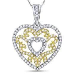 10kt Yellow Gold Round Diamond Nested Curl Heart Pendant 1/2 Cttw